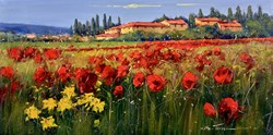 Villa di Campagna II by Bruno Tinucci - Original Painting on Stretched Canvas sized 32x16 inches. Available from Whitewall Galleries